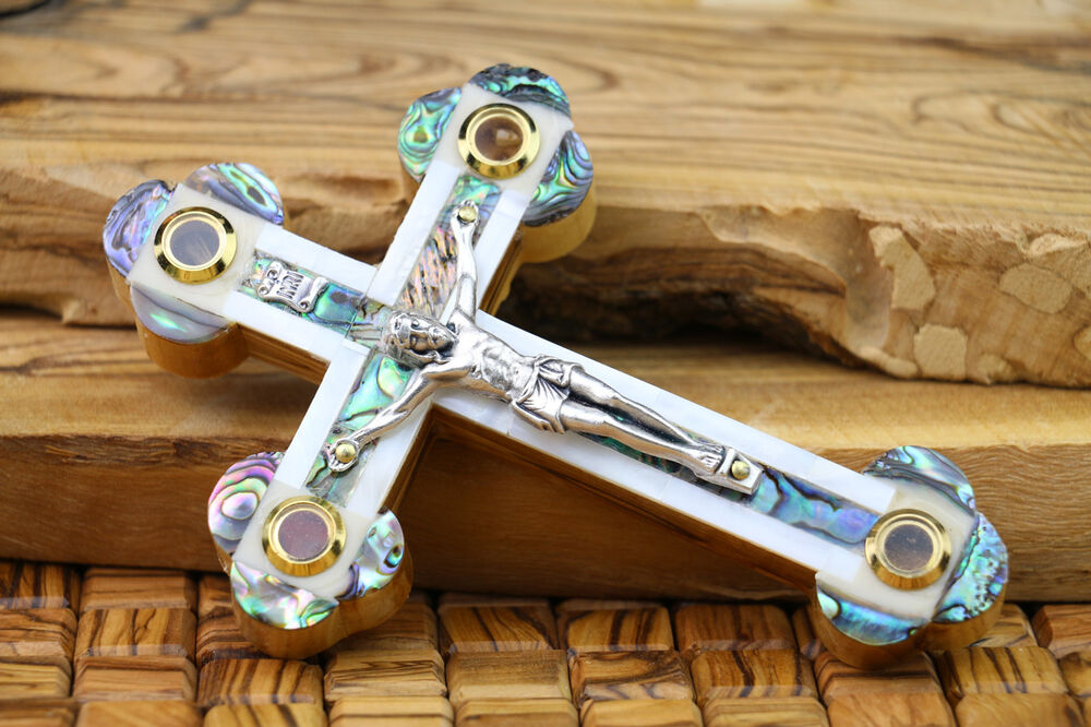 Olive Wood Mother Of Pearl Cross Greek Russian Orthodox