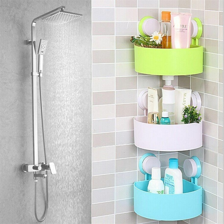 Plastic bathroom corner storage rack organizer shower shelf suction cup lo ebay Bathroom corner cabinet storage