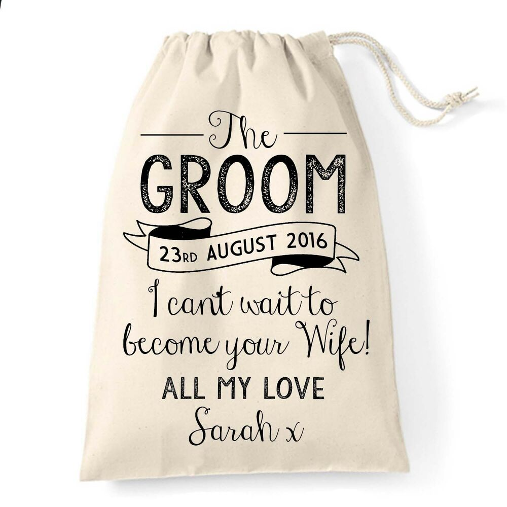 Wedding Day Groom Gift: Gift Bag For The Groom On Wedding Day Morning. Husband To