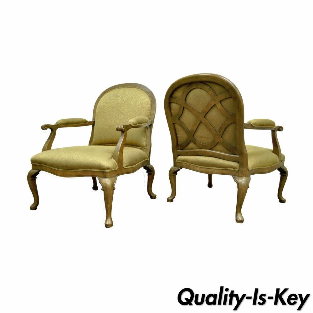 Pair ethan allen french country lattice lounge fireside for Ebay living room chairs