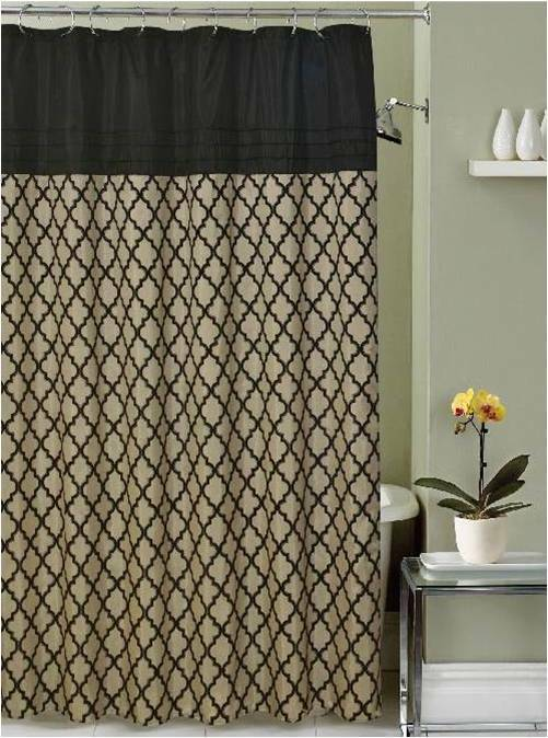 Lancaster Moroccan Black Beige Taupe Fabric Shower Curtain