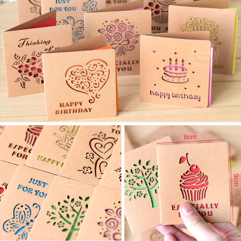 Kraft Laser Cut Greeting Cards For Cids/Friends/Gift Tag Square Mini ...