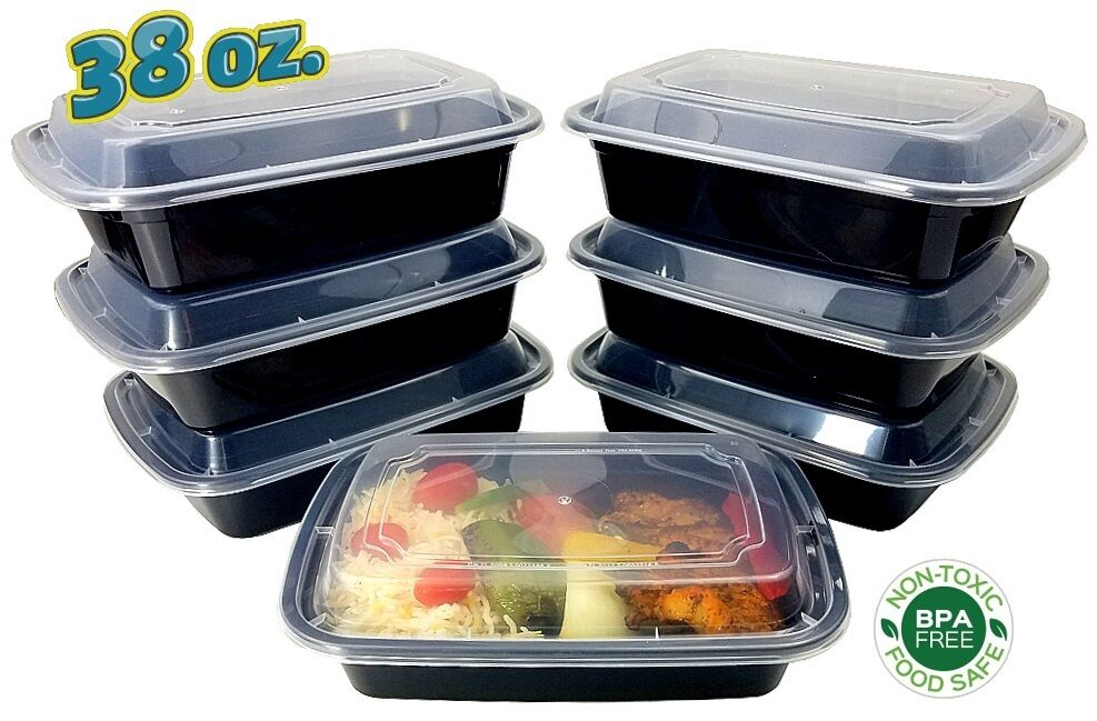 38 Oz Microwavable Black Plastic Meal Prep Food Container