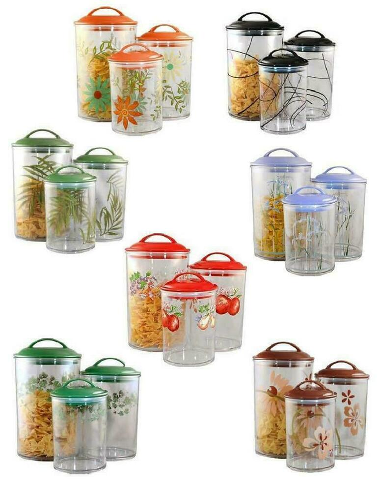 clear kitchen canisters 3 corelle clear acrylic canister set see thru storage jars 11015