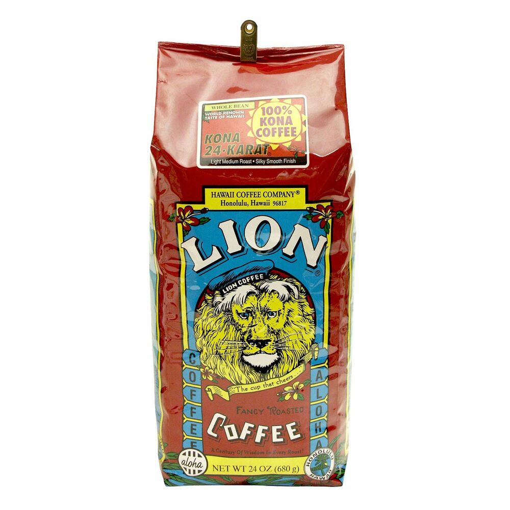100 kona coffee 24 oz whole bean lion coffee hawaii 24k. Black Bedroom Furniture Sets. Home Design Ideas