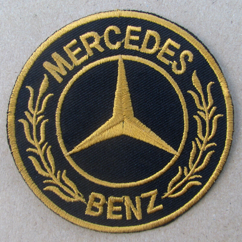 Mercedes benz advertising iron on patch gold cla cls amg for Mercedes benz iron