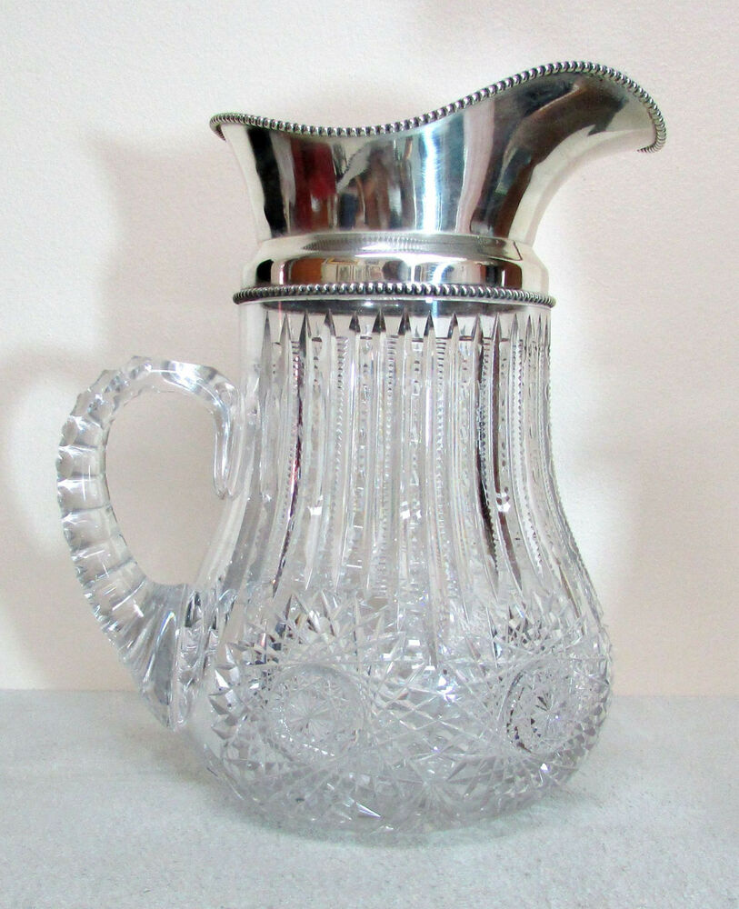Antique Cut Glass Water Pitcher