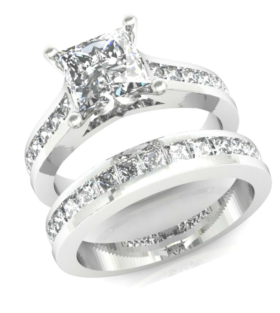 Princess Cut Diamond Wedding Band: 3.2CT PRINCESS CUT CHANNEL SET ENGAGEMENT RING WEDDING