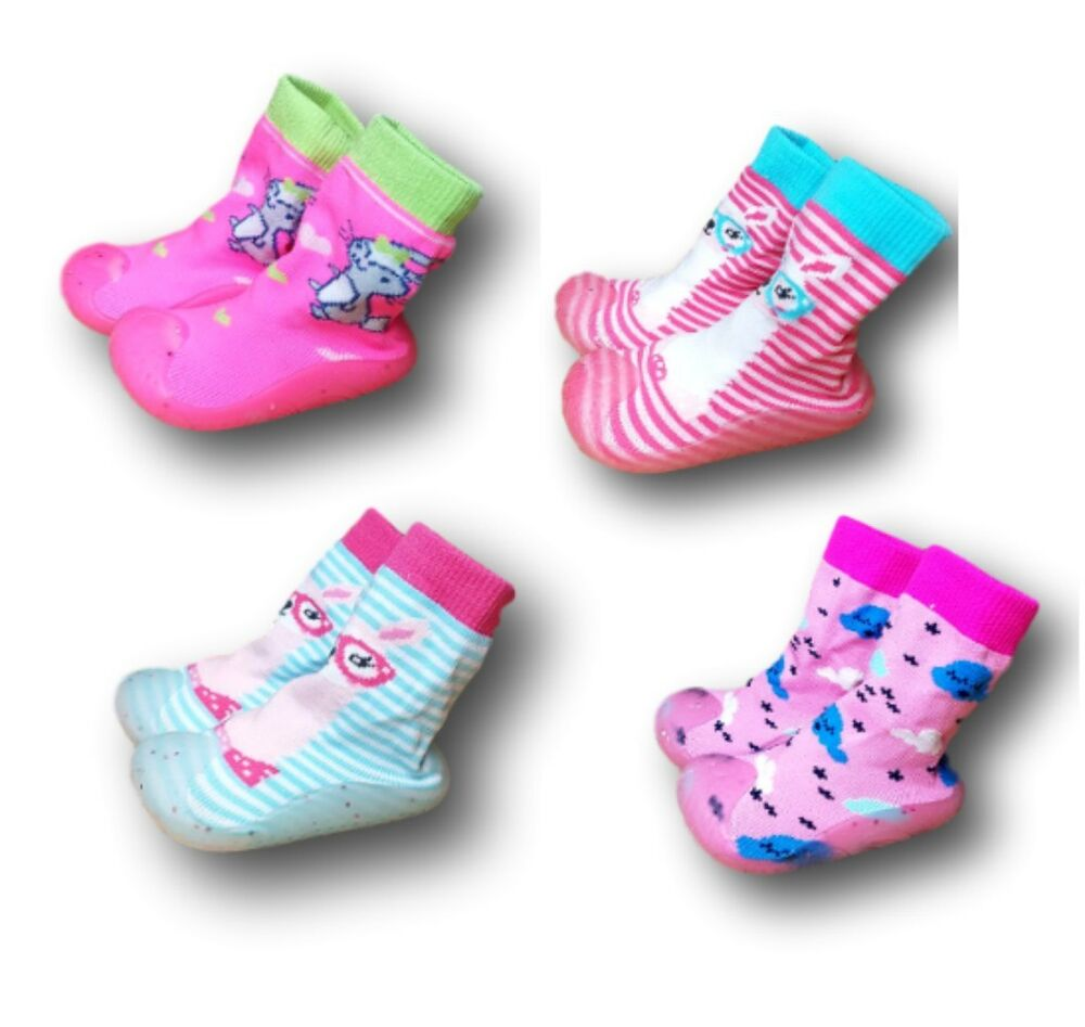 d18c8c0caa107 Baby Girl Indoor Outdoor Non Slip Socks Slippers With Rubber Sole Size 4-9