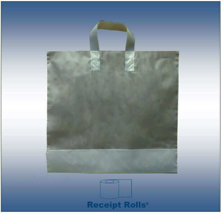250 Lot Plastic Shopping Bags With Loop Handle Clear Frosted 16 Quot X 15 Quot X 6 Quot Ebay
