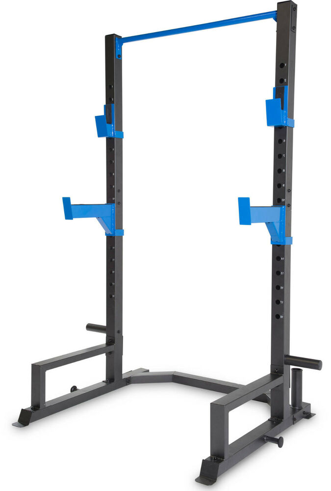 Power Rack Spotter Arms Tower Bench Press Squat Stand Pull Chin Up Bar Band Pegs Ebay