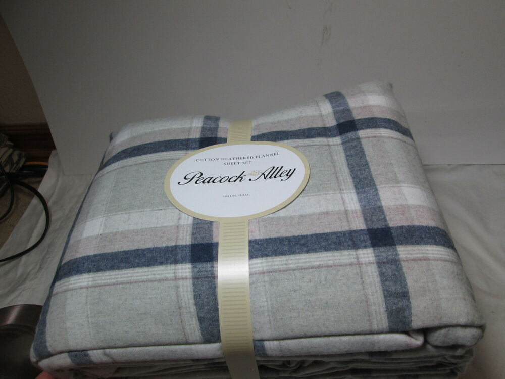 New Peacock Alley Cotton Heathered Flannel King Sheet Set