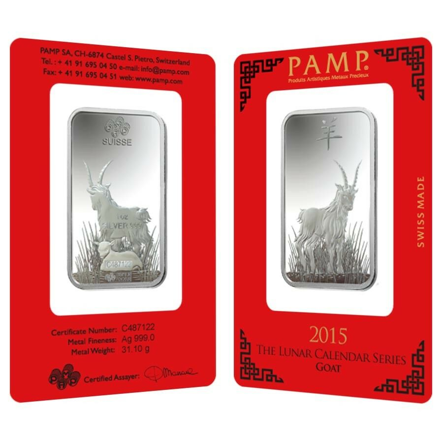 1 Oz Pamp Suisse Year Of The Goat Silver Bar In Assay Ebay