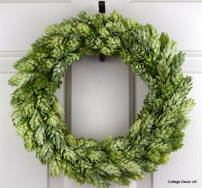 Shabby chic artificial hops wreath handmade cottage decor for Artificial hops decoration