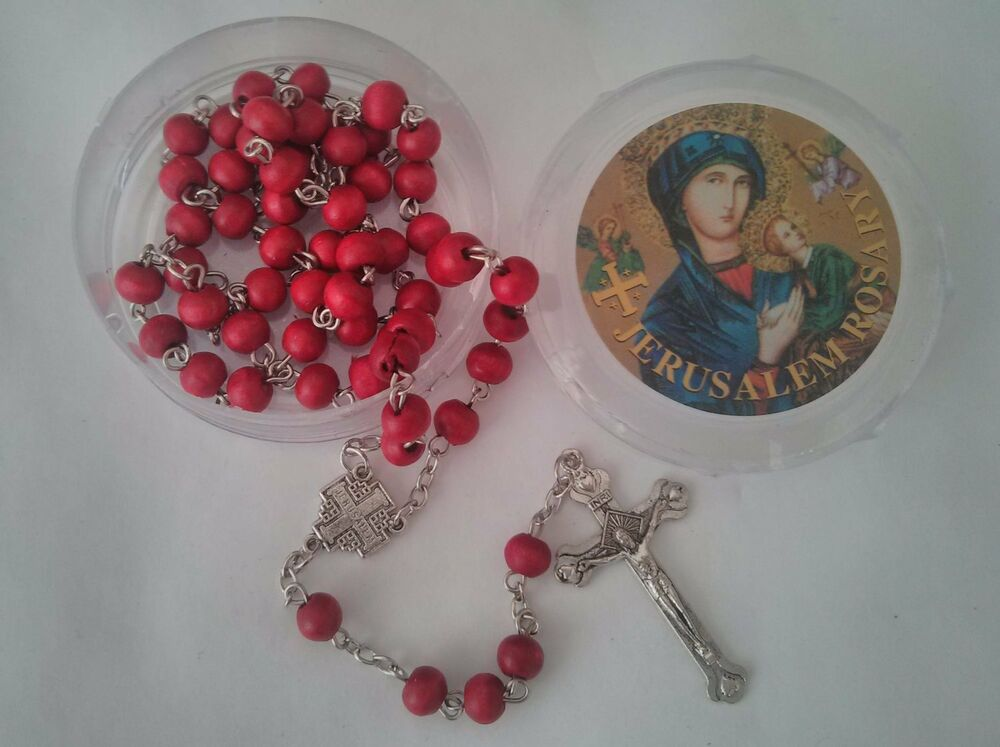 Rose Scented Holy Land Fancy Blessed Olive Wood Rosary