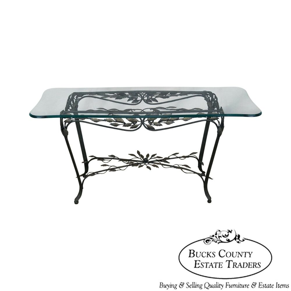Ornate leaf design iron glass top sofa table console ebay for Metal console tables glass top