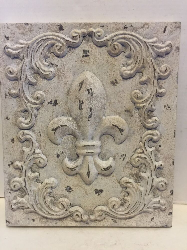 White Fleur De Lis Metal Plaque Tuscan Chic Saint Old