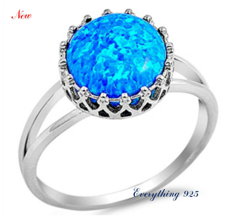 Sterling Silver 925 PRETTY ROUND BLUE LAB OPAL ENGAGEMENT