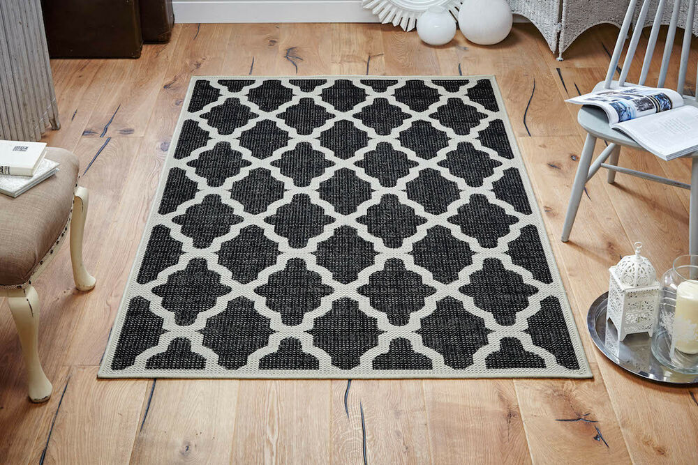 Black cream kitchen utility runner rug sisal like for Small rugs for kitchen