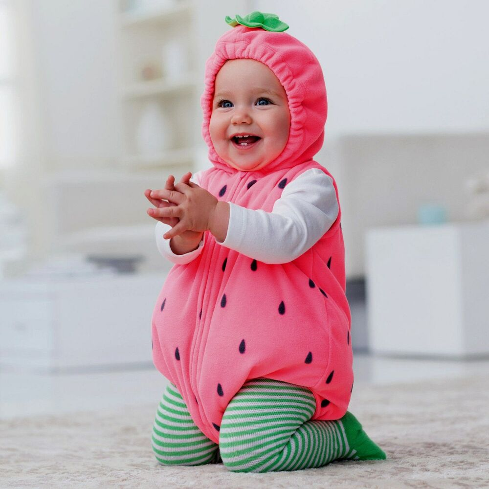 new carter 39 s baby girl 3pc strawberry plush halloween costume fruit outifit 18m ebay. Black Bedroom Furniture Sets. Home Design Ideas