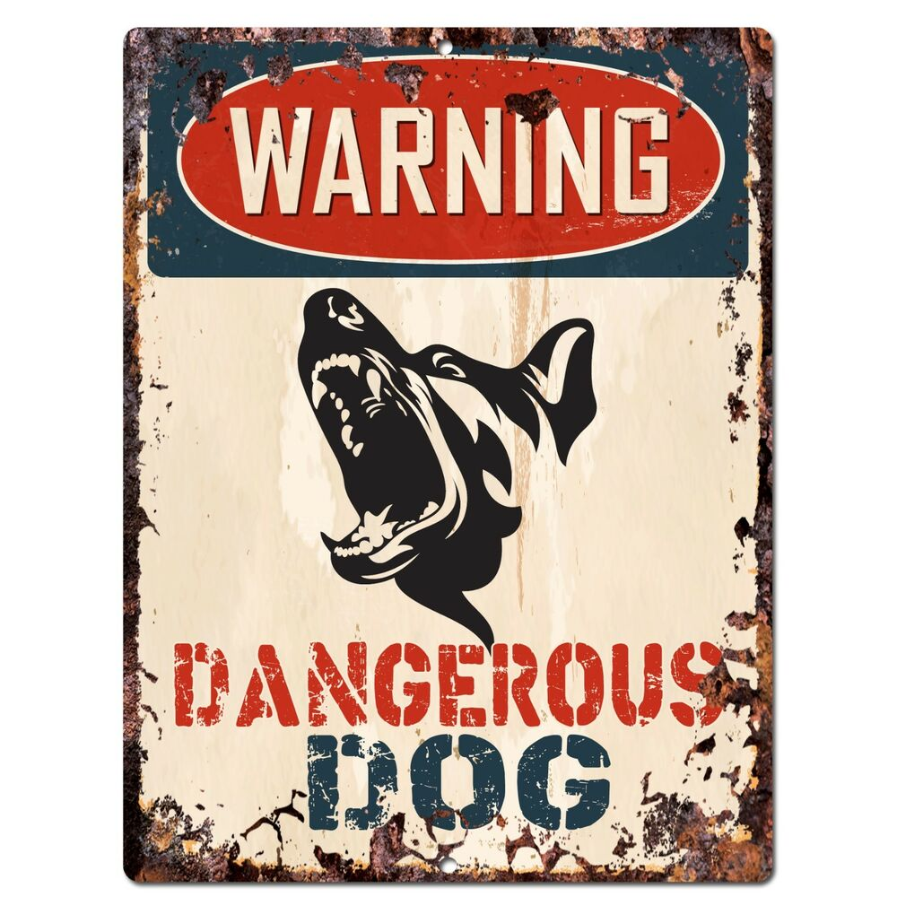 Pp2344 Warning Dangerous Dog Plate Sign Rustic Chic Sign