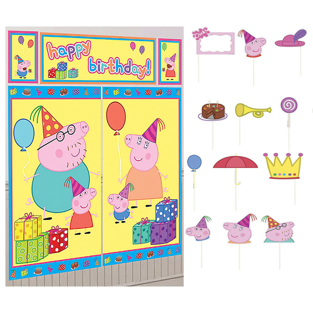 PEPPA PIG Scene Setter Happy Birthday Party Wall Decorations kit ...