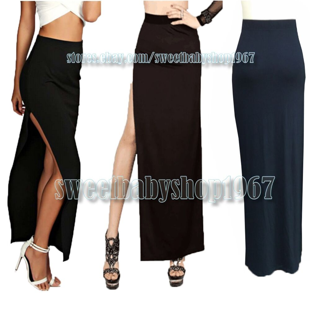 womens side high thigh split slit solid maxi