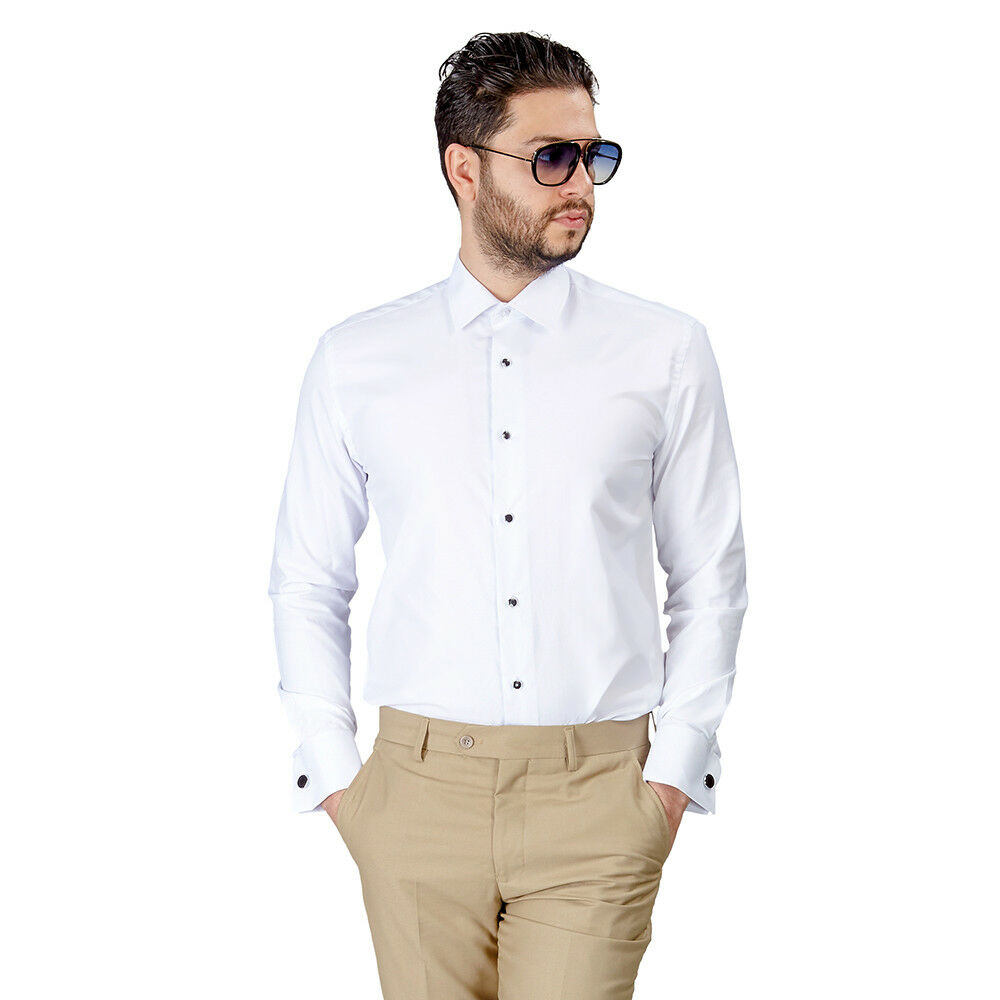 Tailored slim fit mens french cuff white dress shirt White french cuff shirt slim fit
