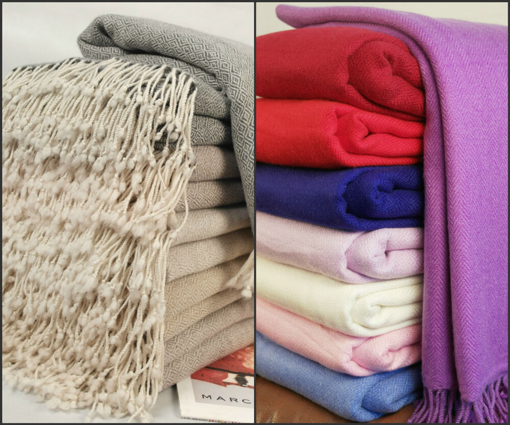 New Luxurious Pure Cashmere Blankets Throws Hand Woven Ebay