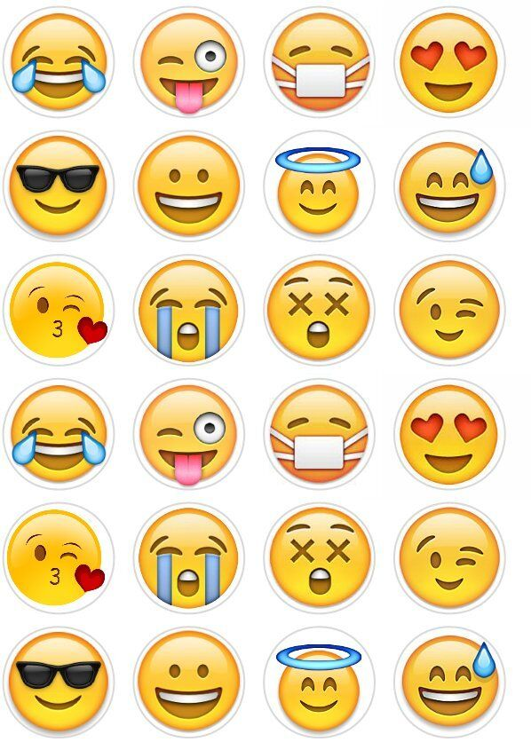 24 Emoji Smiley Faces Cupcake Cake Toppers Edible Rice