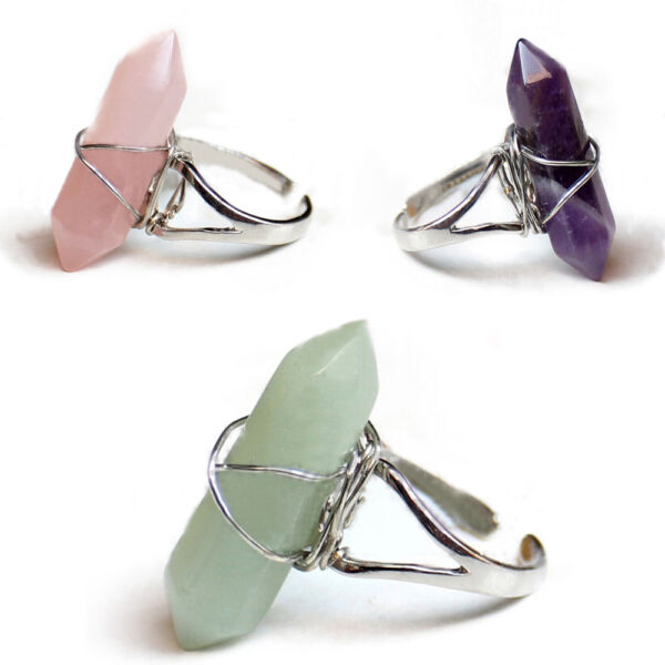 New Fashion Women's Adjustable Opening Long Artificial Crystal Alloy Finger Ring
