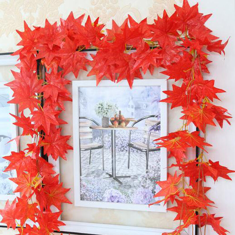 Artificial maple leaf garland silk autumn fall leaves for Artificial leaves for decoration