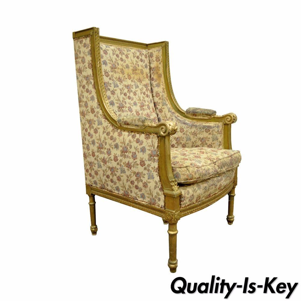 Vintage Armchair Styles: Antique French Louis XVI Style Gold Gilt Wing Back Bergere