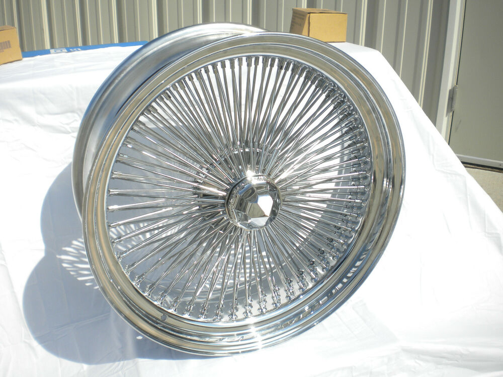 15 Inch Chrome Wire Wheels New Set 4 Player 100 Spoke Knockoff
