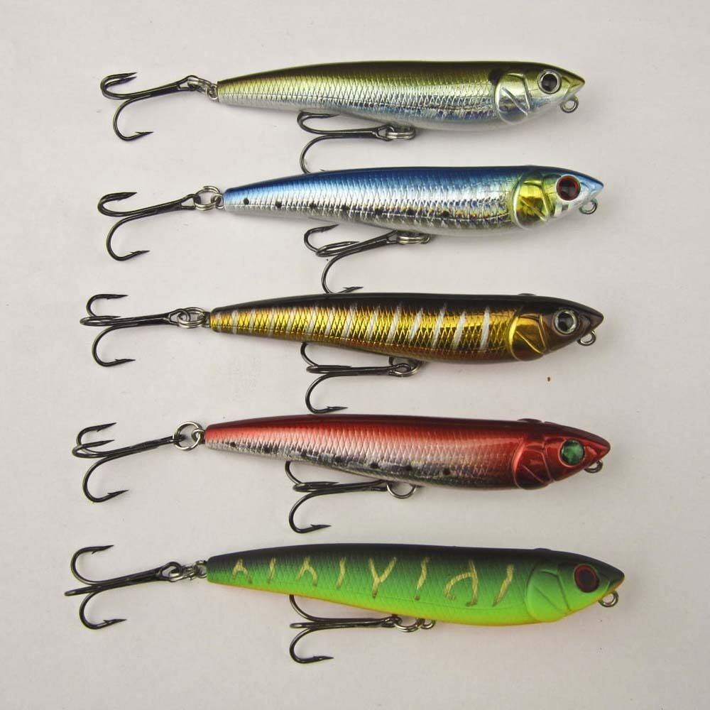 Water dog fishing topwater floating pencil bait pike bass for Bass fishing lures