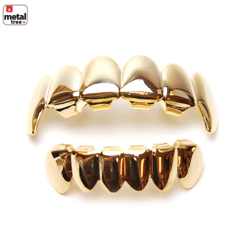Vampire GRILLZ SET Fangs 14K IP Gold Plated Top & Bottom ...