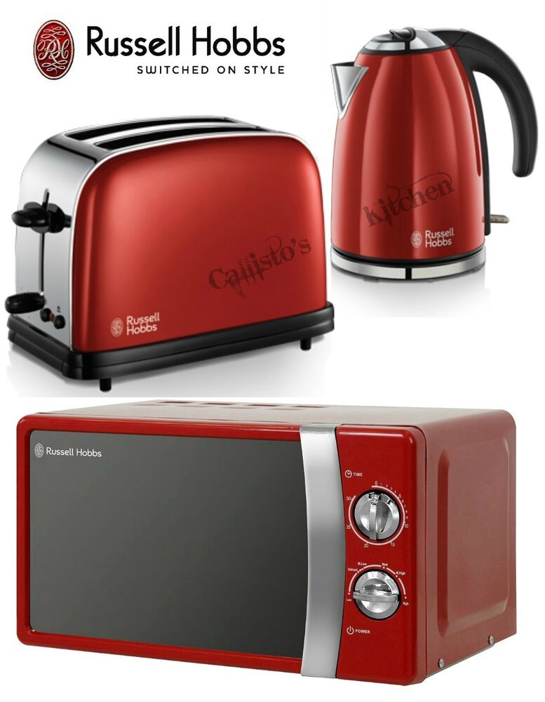 RHMM701R Manual Red Microwave + Russell Hobbs Colours Kettle and ...