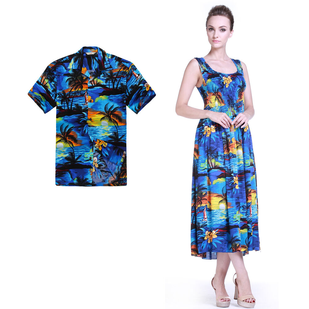 Couple matching shirt dress outfit hawaiian cruise luau for Blue dress shirt outfit