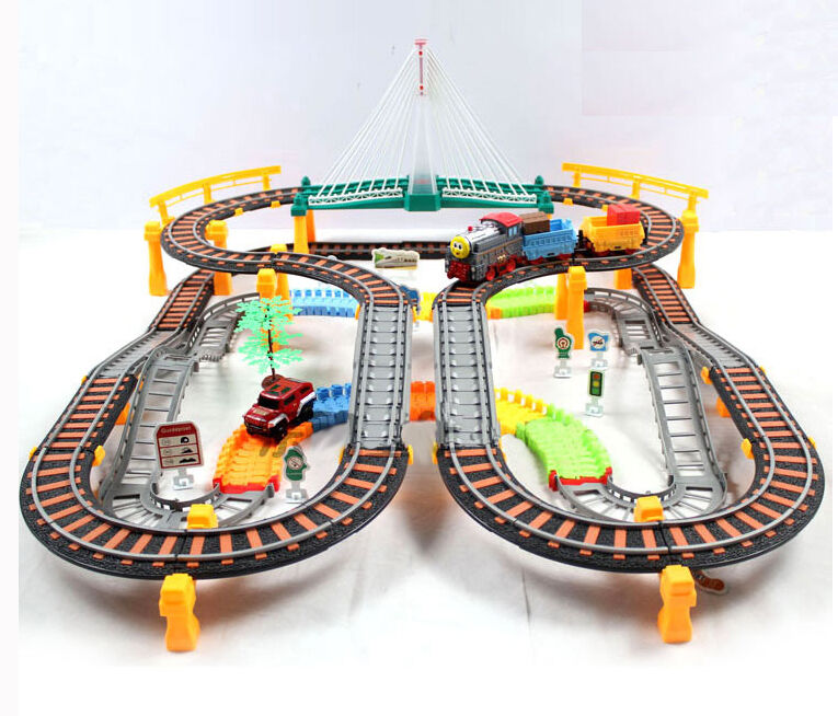 electric train set for kids rolling rail roadway gift boys deluxe scale 192pcs ebay. Black Bedroom Furniture Sets. Home Design Ideas