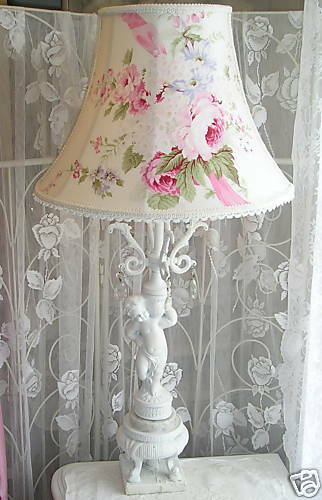 lampshade french rose fabric table floor shade shabby victorian cottage chic ebay. Black Bedroom Furniture Sets. Home Design Ideas
