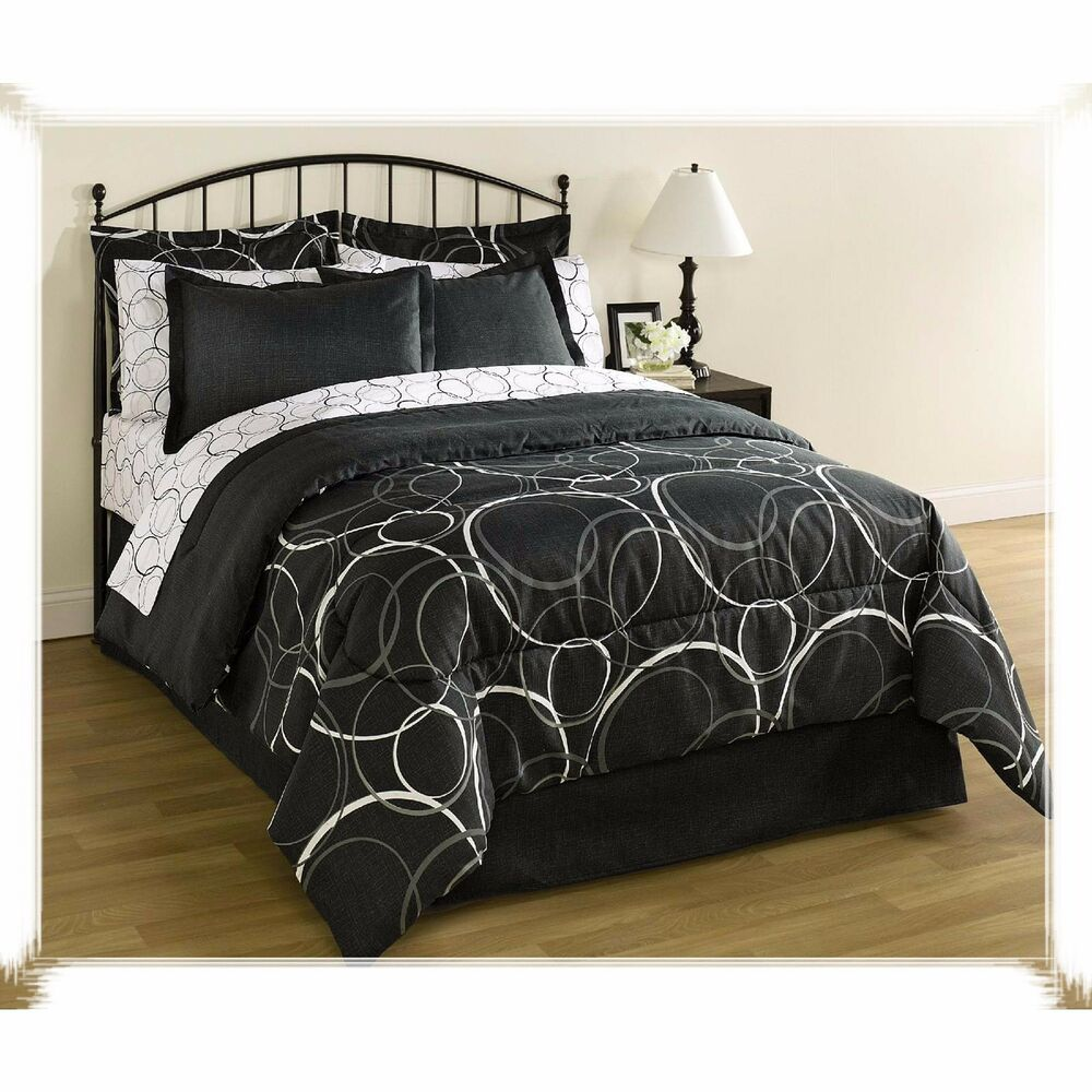 Queen size bedding set 8 piece comforter sheets pillows for Bedroom set full size bed
