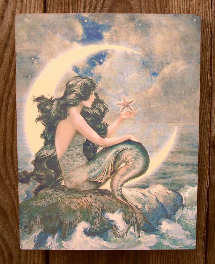 8 Vtg Style Mermaid Crescent Moon Picture Plaque Nautical Beach Home Wall Decor Ebay
