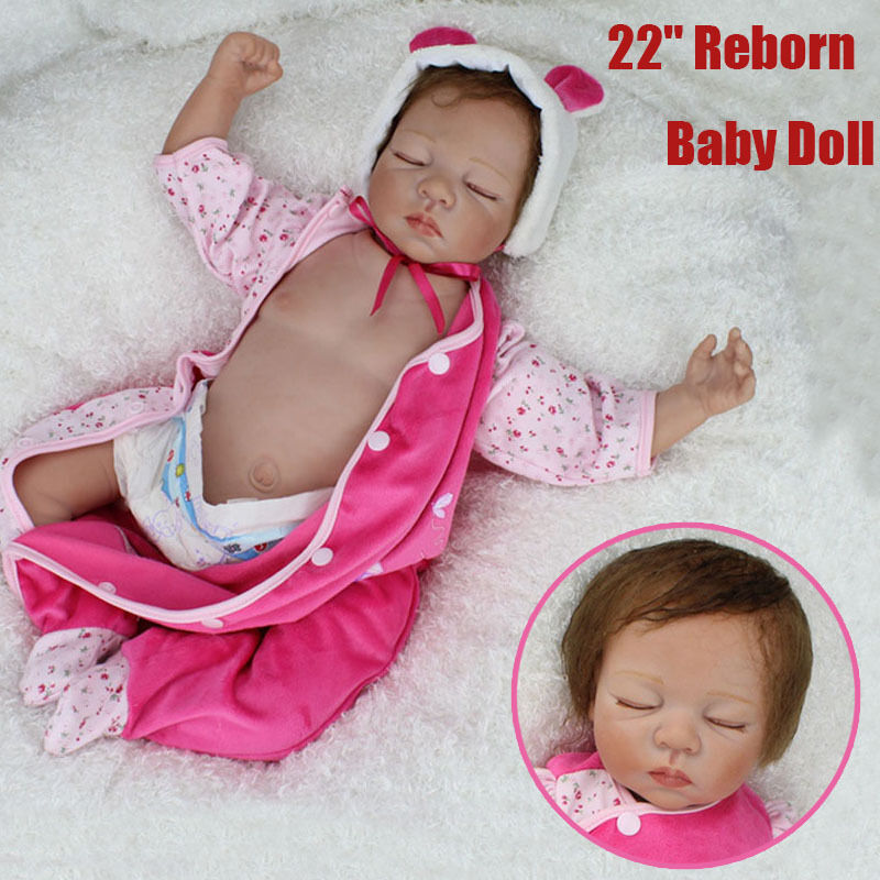 22 Quot Silicone Reborn Baby Doll Sleeping Babies Real Vinyl