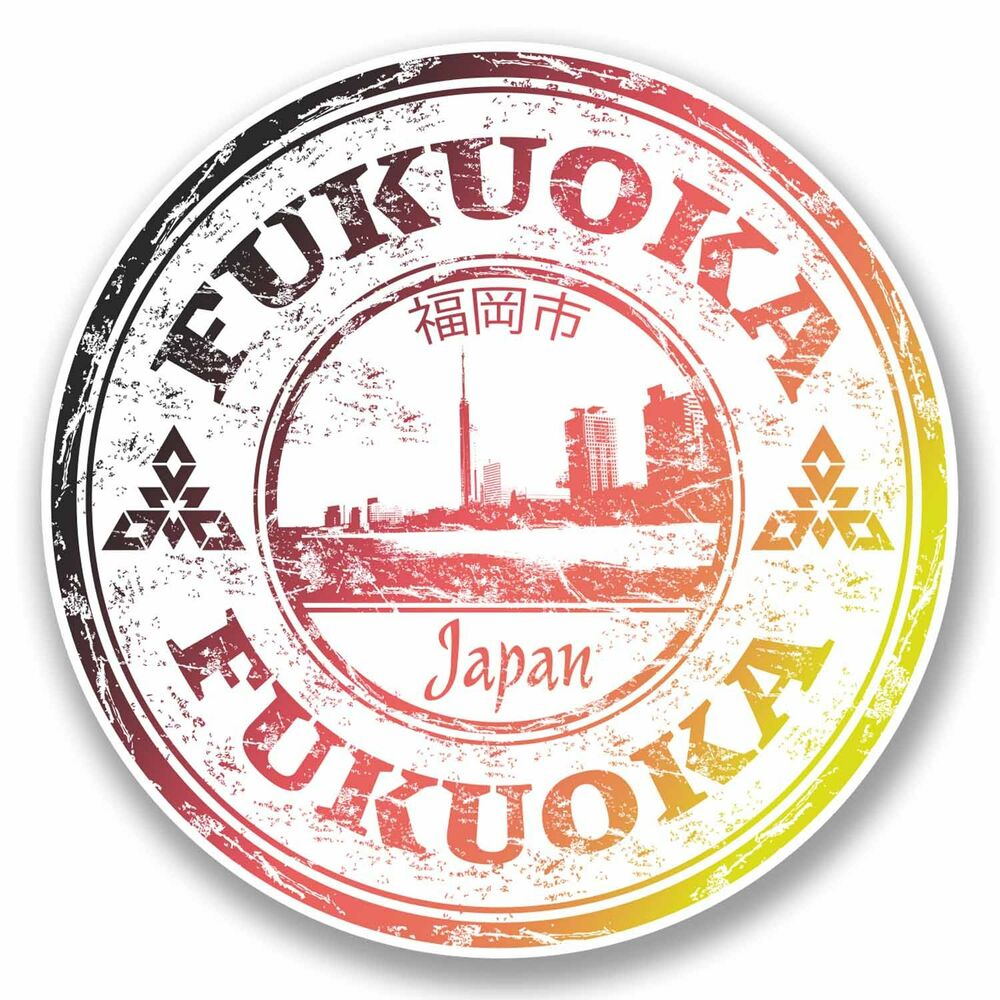 Details about 2 x 10cm fukuoka japan sticker decal luggage suitcase travel label laptop 9704
