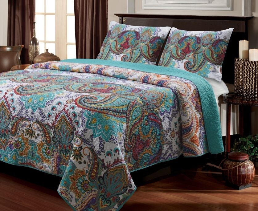 Cot In A Box Morocco Turquoise: Aqua Paisley Quilt Set 3 Piece Full Queen Size 100