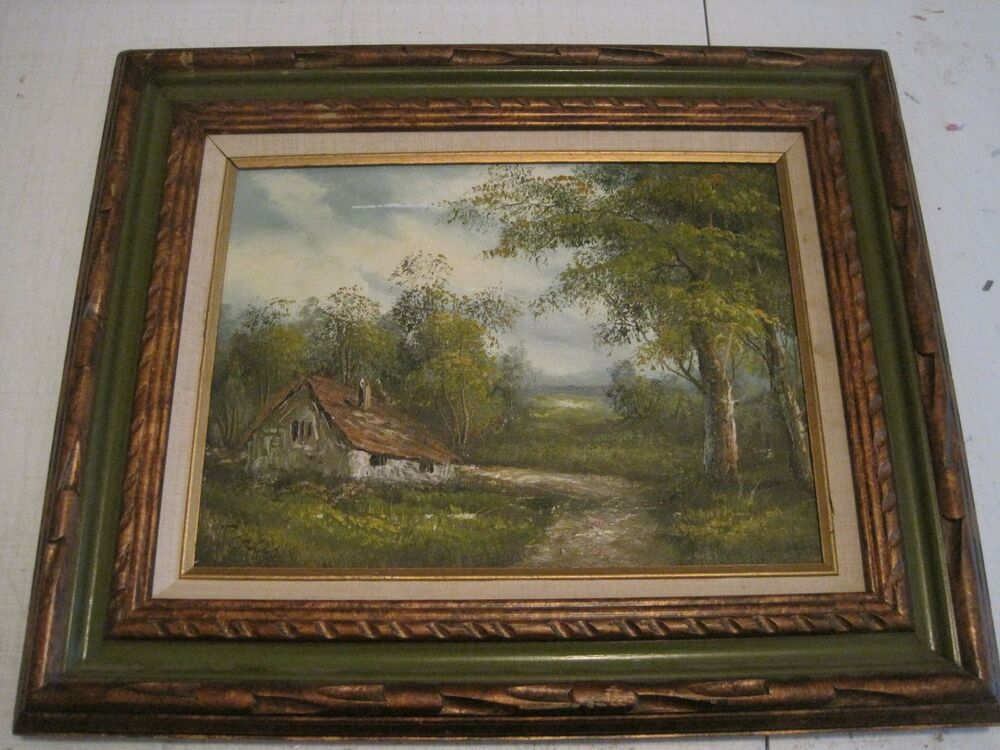 Percy landscape oil on canvas wood frame signed for Framing canvas paintings