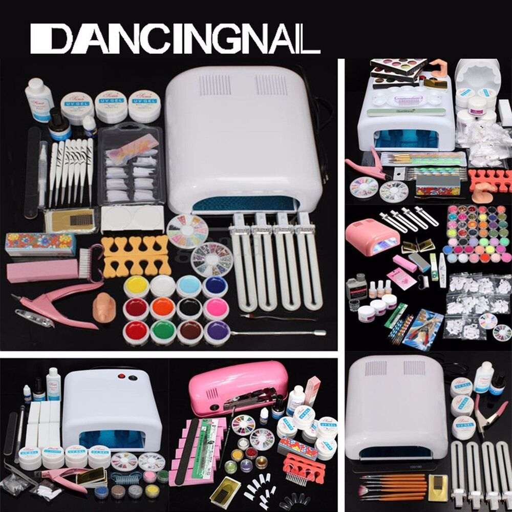 profi nagelstudio uv lampe gel kleber kit nagelset nailart acryl manik re set ebay. Black Bedroom Furniture Sets. Home Design Ideas
