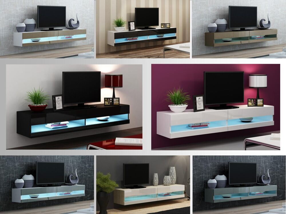 Tv Stand Cabinet With Led Lights High Gloss