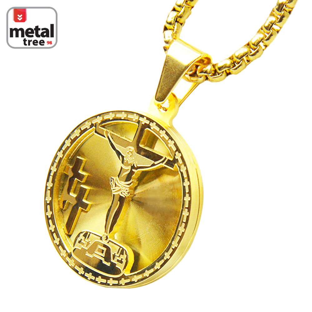 14k gold tone stainless steel 3d medallion jesus pendant for Stainless steel jewelry necklace