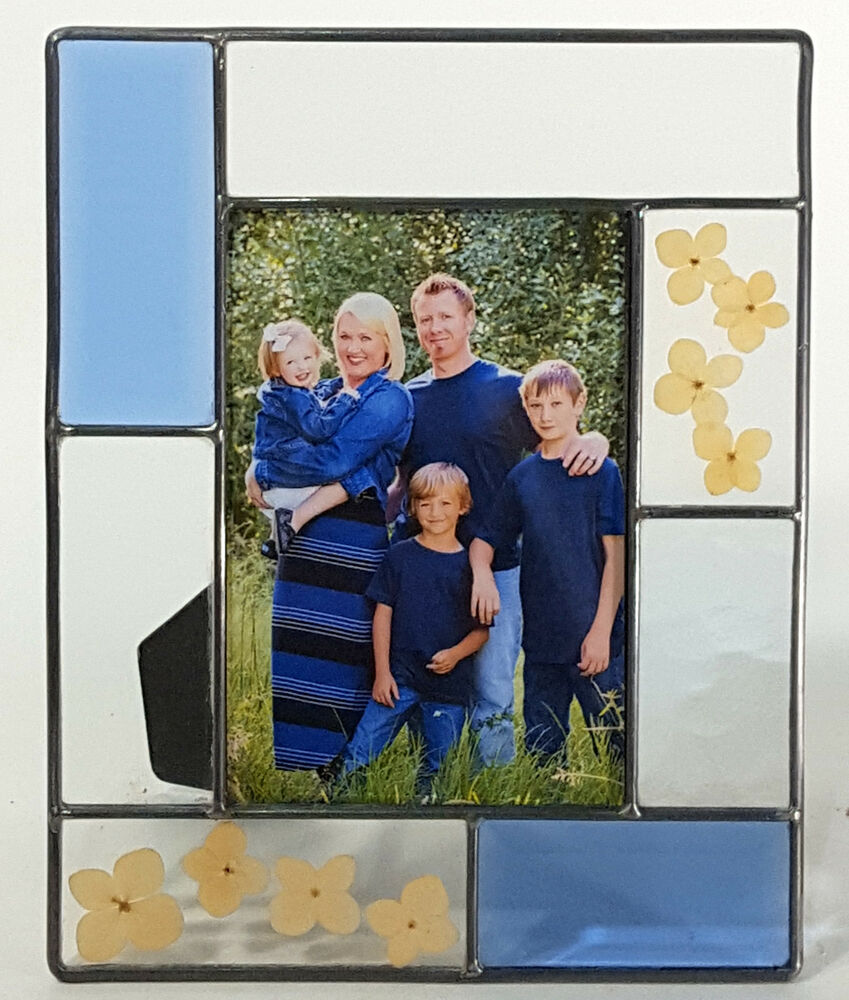 STAINED GLASS PICTURE FRAME LEADED BEVELED GLASS PRESSED BLOSSOMS 6 ...